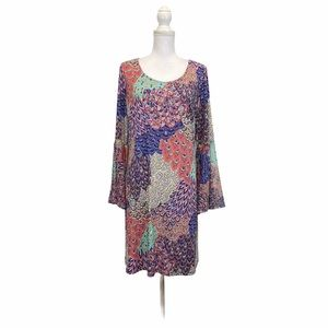 1X Peacock Father Print Bell Sleeve Dress